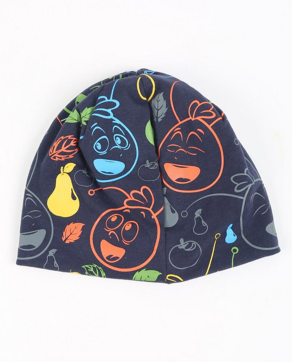 Dunkelblaue Mütze - mit buntem Print - Maya